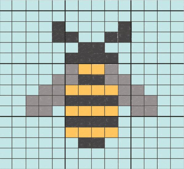 Bee intarsia pattern using a knitting graph paper