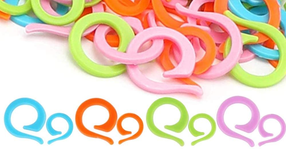 Pastel colored plastic open ring stitch markers