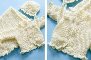 Baby Christening Knitted Set [FREE Knitting Pattern] | theknittingspace.com