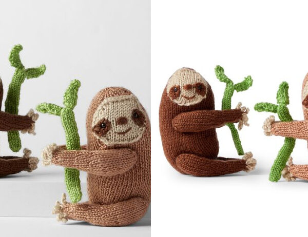 Bella & Brian Knitted Toy Sloth [FREE Knitting Pattern]   learnknittingonline.com