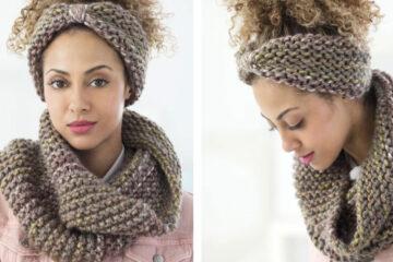 Boro Park Cowl and Headband [FREE Knitting Pattern] | learnknittingonline.com