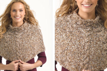 Knit Cabled Capelet [FREE Knitting Pattern] | learnknittingonline.com