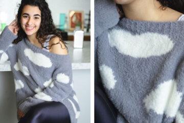 Cloud Intarsia Knit Sweater [FREE Knitting Pattern] | learnknittingonline.com