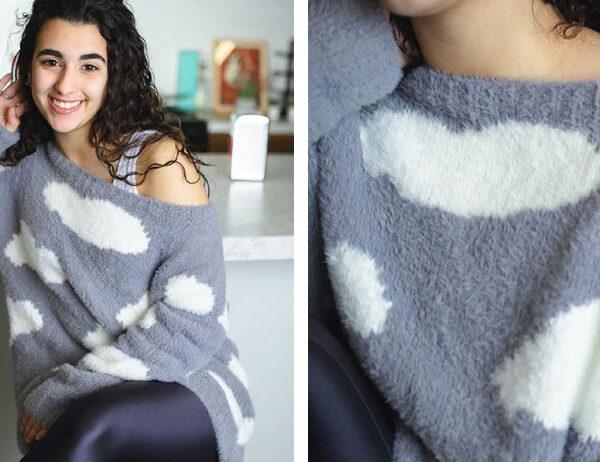 Cloud Intarsia Knit Sweater [FREE Knitting Pattern]   learnknittingonline.com