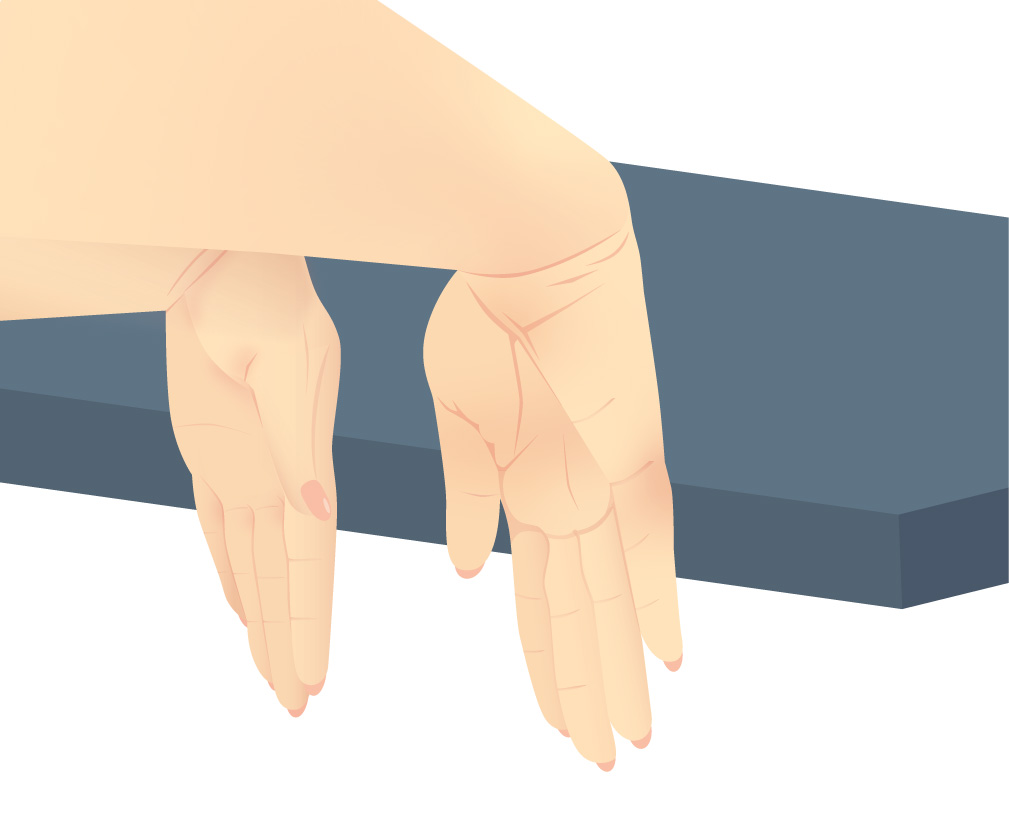 Back of the hands pushed against the edge of a blue table, doing the extensor knitter's exercise
