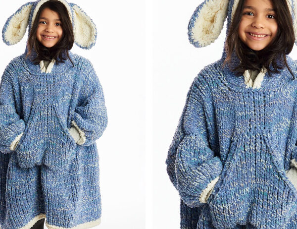 Funny Bunny Kids Knit Blanket Hoodie [FREE Knitting Pattern]   learnknittingonline.com