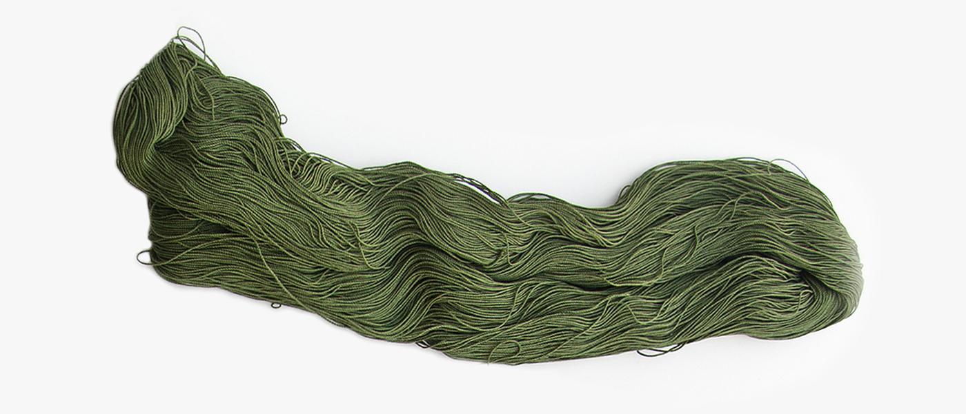 A hank of army green yarn