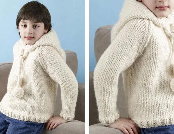 Kildare Knit Kiddie Hoodie [FREE Knitting Pattern]   learnknittingonline.com