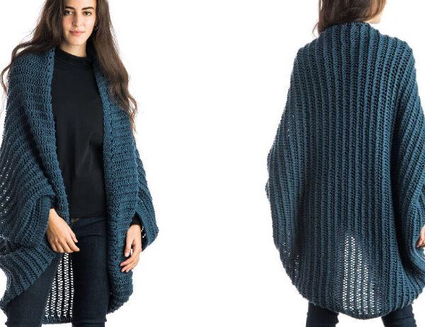 Knit Eyelet Stitch Cocoon [FREE Knitting Pattern]   learnknittingonline.com