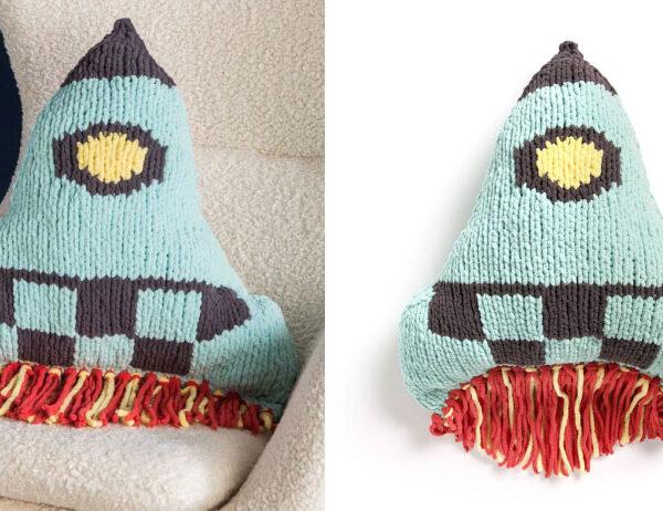 Knit Rocket Ship Pillow [FREE Knitting Pattern]   learnknittingonline.com