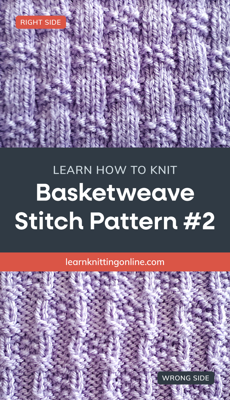 """Lilac knitted fabric with a basketweave pattern followed by a text area that says """"Learn how to knit: Basketweave Stitch Pattern #2, learnknittingonline.com"""" and a back side of the lilac knitted fabric with a basketweave pattern"""