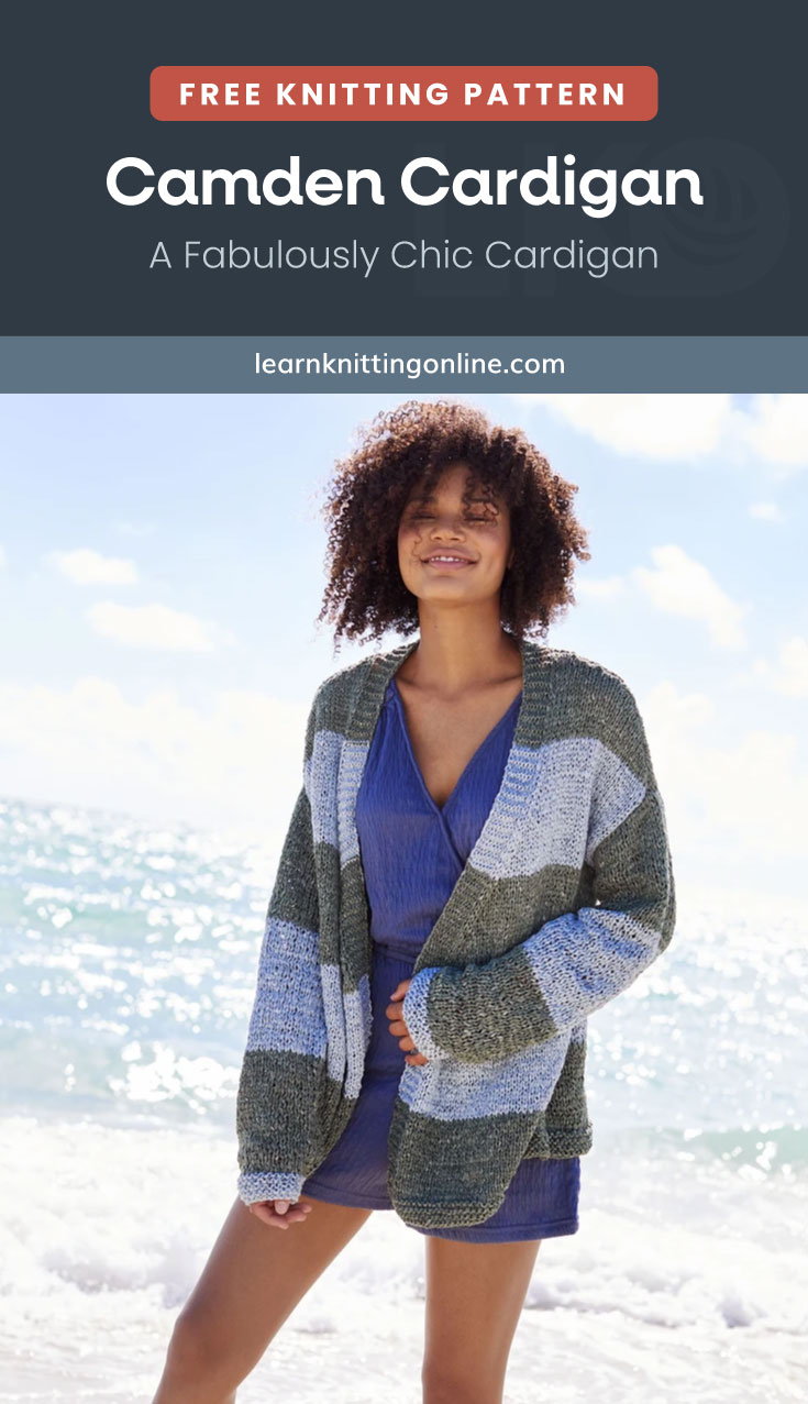 """Text area which says """"Free Knitting Pattern: Camden Cardigan – A Fabulously Chic Cardigan, learnknittingonline.com"""" followed by a woman wearing a striped knitted cardigan on the beach"""