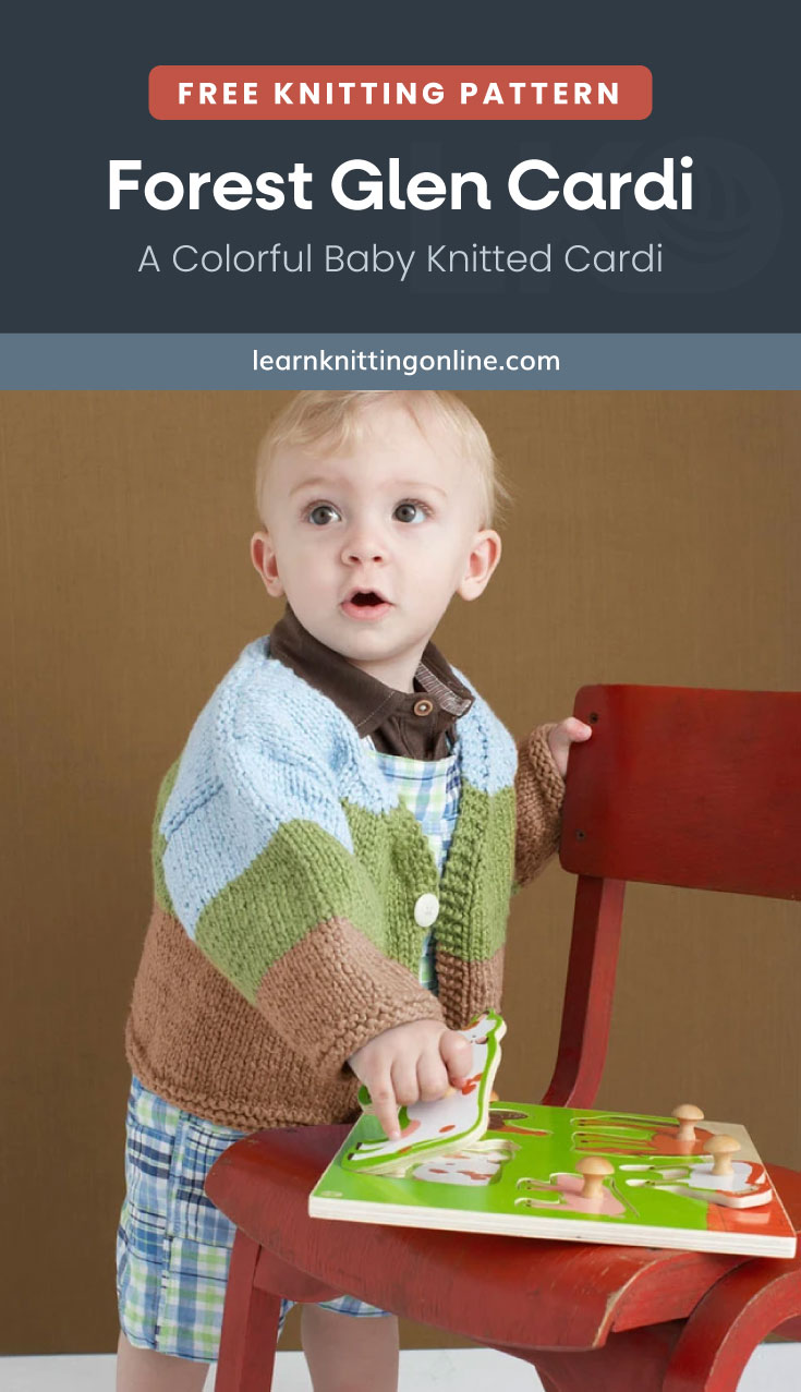 """Text area which says """"Free Knitting Pattern: Forest Glen Cardi – A Colorful Baby Knitted Cardi, learnknittingonline.com"""" followed by a little boy wearing a striped knitted cardigan while playing with his book on a chair"""