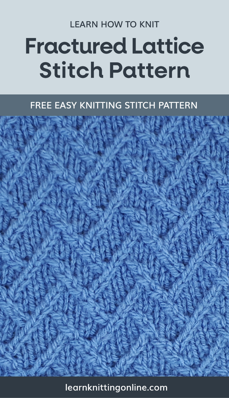 """A text area that says """"Learn how to knit: Fractured Lattice Stitch Pattern, learnknittingonline.com"""" and a blue knitted cable fabric swatch"""