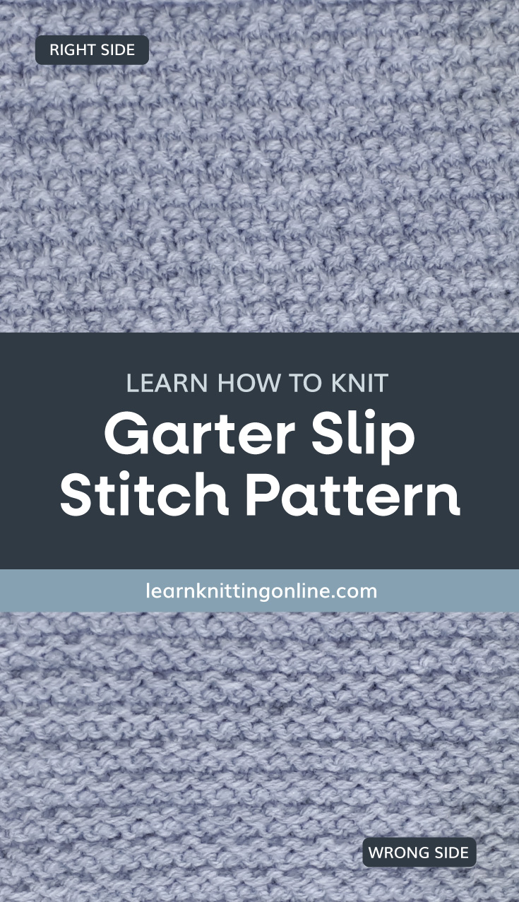 """A text area that says """"Learn how to knit: Garter Slip Stitch Pattern, learnknittingonline.com"""" and a lavender knitted garter slip stitch fabric swatch"""