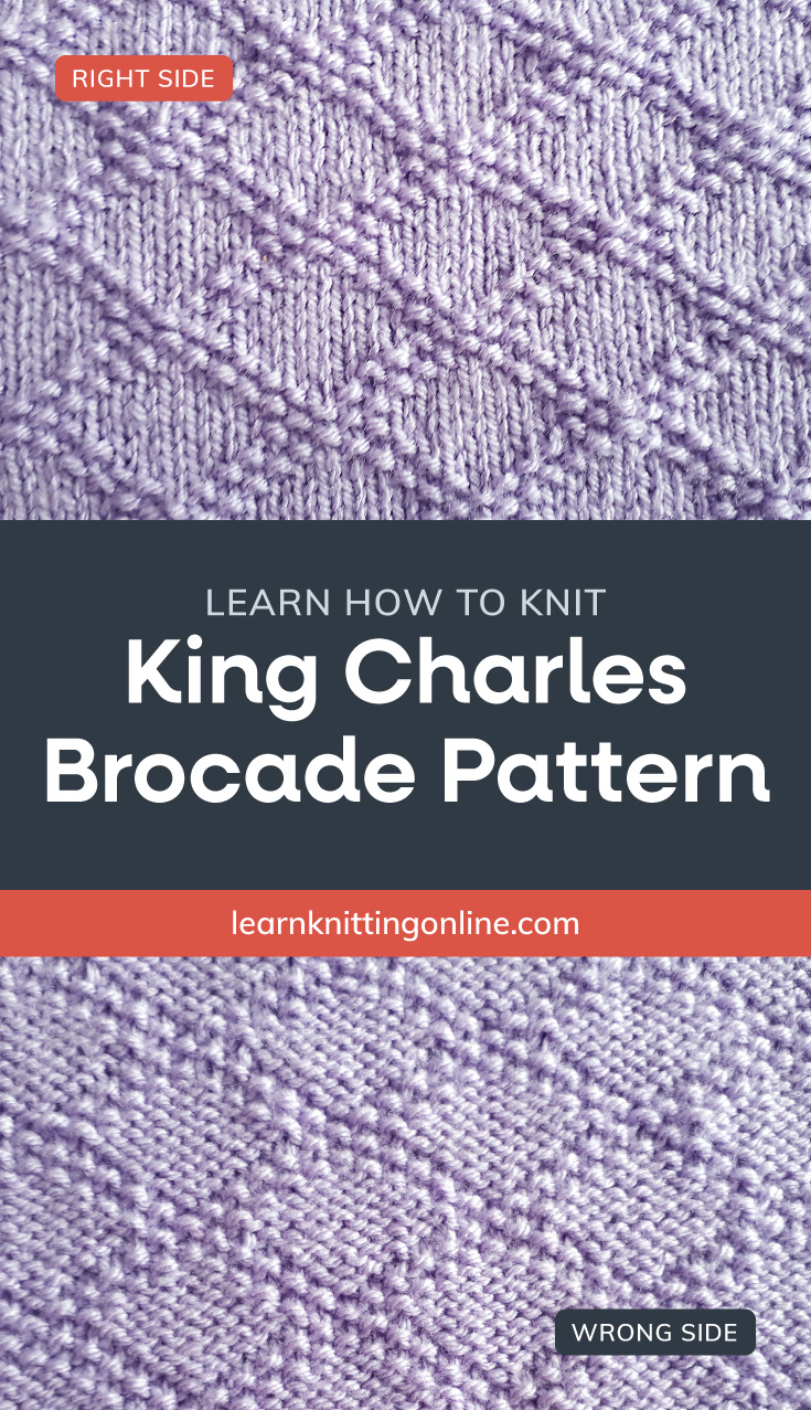 """Periwinkle knitted fabric with a diamond pattern followed by a text area that says """"Learn how to knit: SKing Charles Brocade, learnknittingonline.com"""" and a back side of periwinkle knitted fabric with a diamond pattern"""