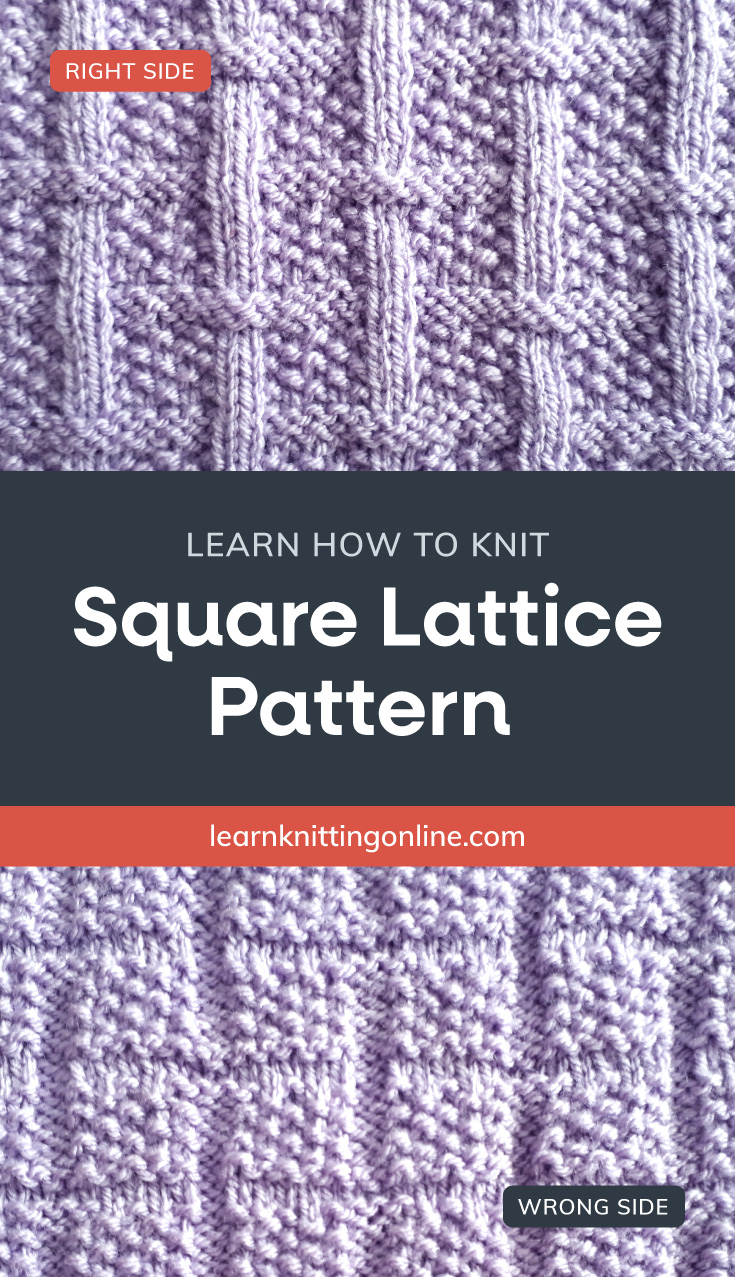 """Periwinkle knitted fabric with a square pattern followed by a text area that says """"Learn how to knit: SSquare Lattice Pattern, learnknittingonline.com"""" and a back side of periwinkle knitted fabric with a square pattern"""