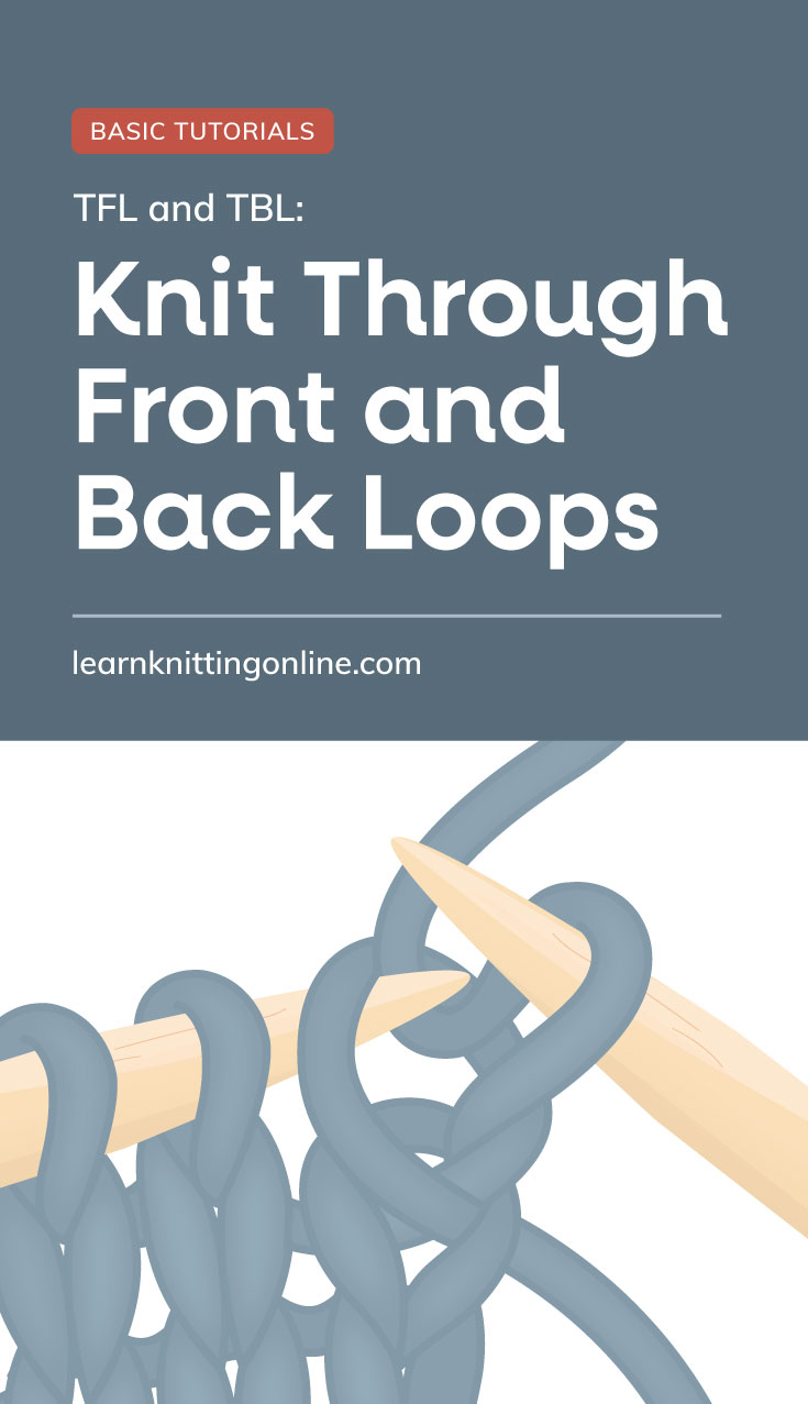 """Text area which says """"TFL and TBL: Knit Through Front and Back Loops , learnknittingonline.com"""" followed by a loop in a knitting project being pulled through from the back using the right hand needle"""
