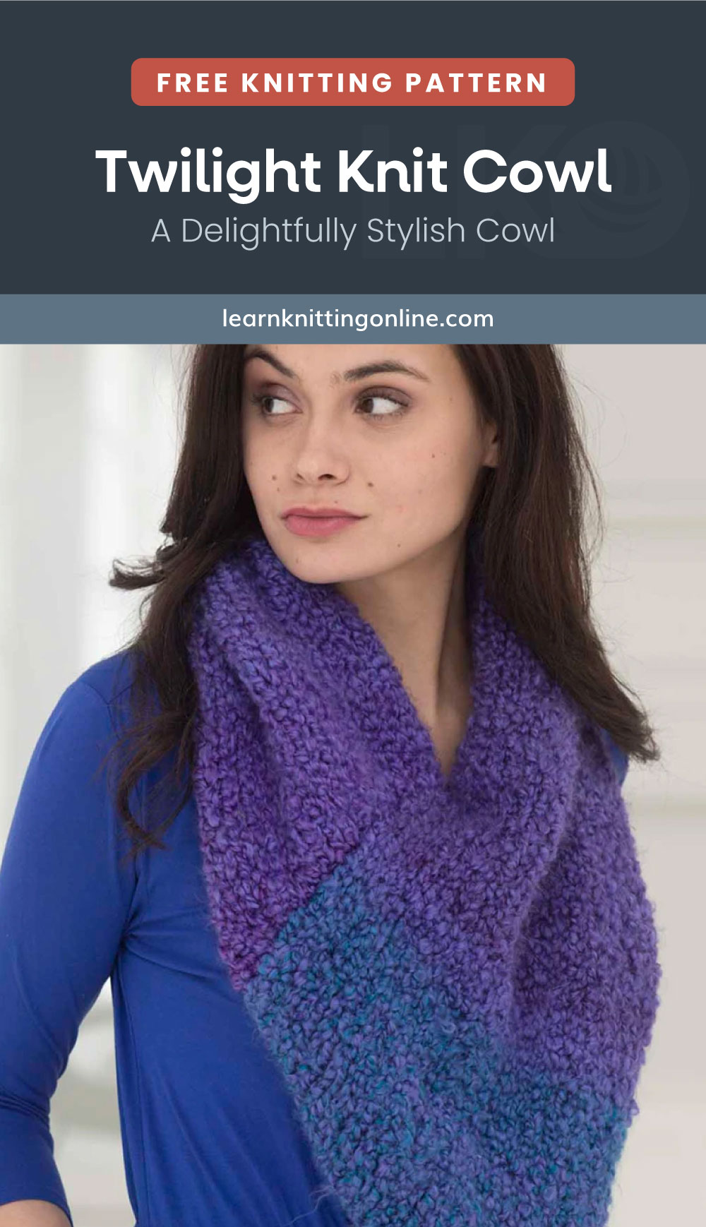 """Text area which says """"Free Knitting Pattern: Twilight Knit Cowl - A Delightfully Stylish Cowl, learnknittingonline.com"""" followed by a woman with a raised eyebrow wearing a chunky knitted cowl"""