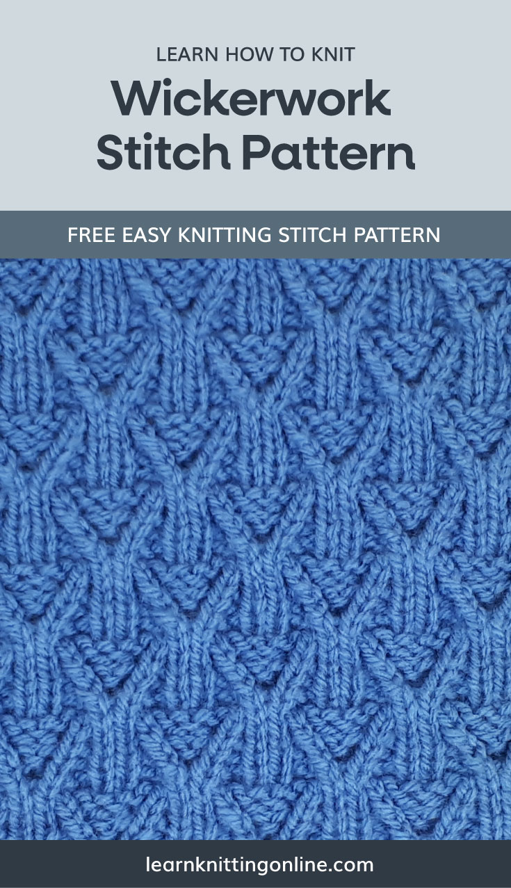 """A text area that says """"Learn how to knit: Wickerwork Stitch Pattern, learnknittingonline.com"""" and a blue knitted wickerwork fabric swatch"""