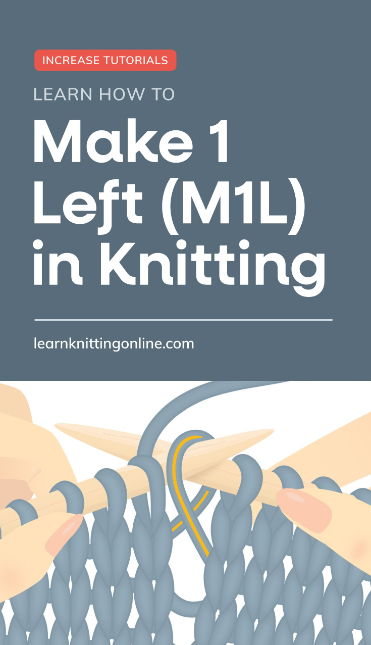 """Text area which says """"Learn How to Make 1 Left (M1R) in Knitting , learnknittingonline.com"""" followed by hands knitting a blue knitting project"""