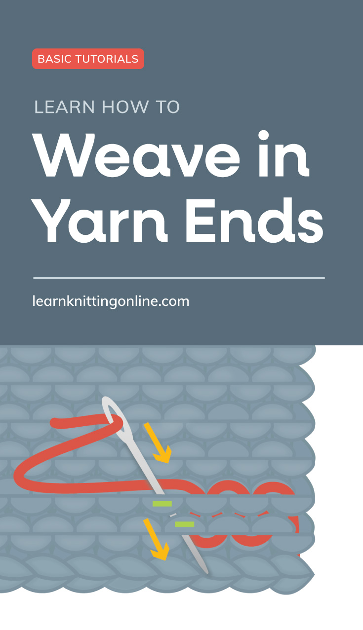 """Text area which says """"Basic Tutorials: Learn How to Weave in Yarn Ends , learnknittingonline.com"""" followed by a loose yarn being woven in a knitted garter stitch fabric"""
