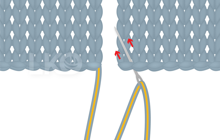 How to Sew Mattress Stitch, using the yarn tail Step 1: Tapestry needle with the yarn tail threaded in, being inserted in the corner of a knitted fabric.