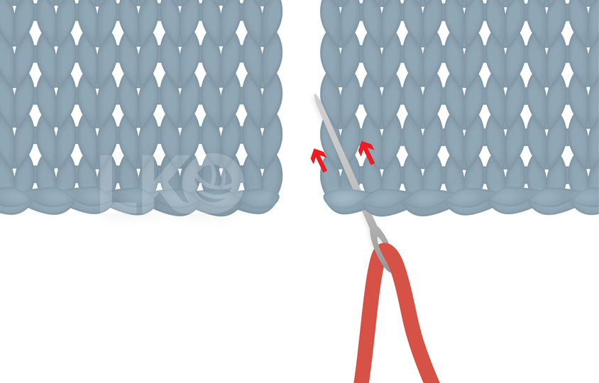 How to Sew Mattress Stitch, not using the yarn tail Step 1: Tapestry needle with the a red yarn threaded in, being inserted in the corner of a knitted fabric.