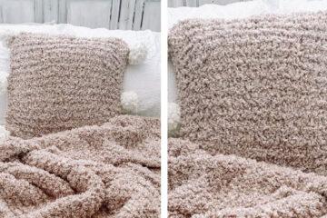 Mirin Knit Pompom Pillow [FREE Knitting Pattern] | learnknittingonline.com