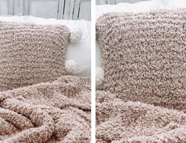 Mirin Knit Pompom Pillow [FREE Knitting Pattern]   learnknittingonline.com