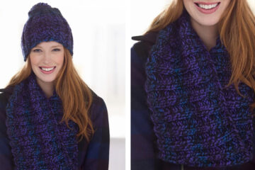 Moody Hues Hat and Cowl [FREE Knitting Pattern] | learnknittingonline.com