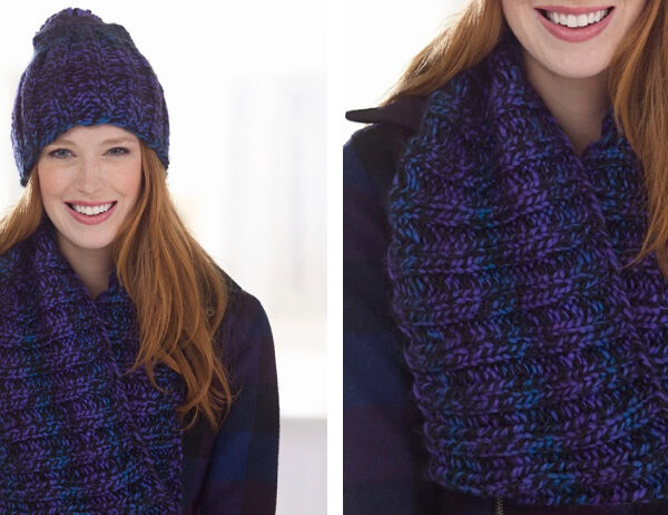 Moody Hues Hat and Cowl [FREE Knitting Pattern]   learnknittingonline.com