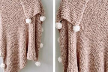 Roscoe Knit Pompom Blanket [FREE Knitting Pattern] | learnknittingonline.com