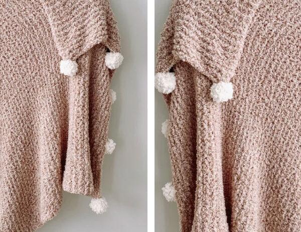 Roscoe Knit Pompom Blanket [FREE Knitting Pattern]   learnknittingonline.com