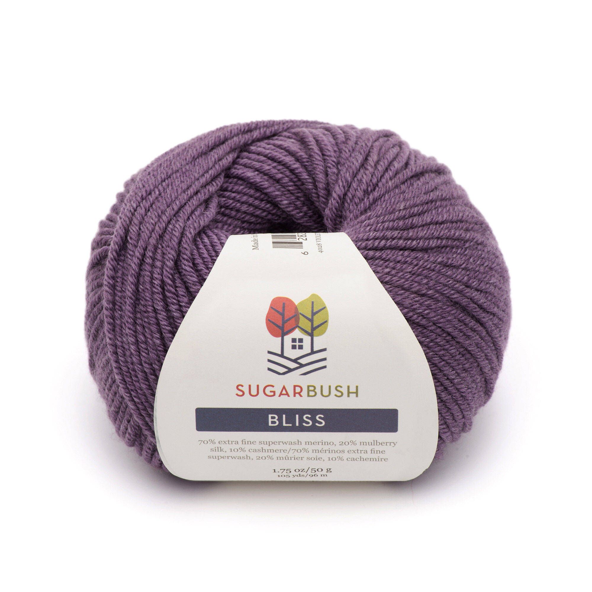 A donut ball of violet yarn with label
