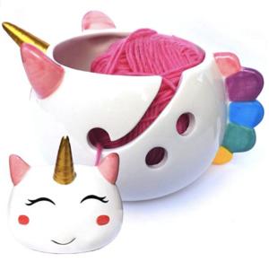 Ceramic Unicorn Yarn Bowl on white background