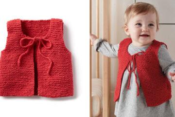 Wee Knit Baby Vest [FREE Knitting Pattern] | learnknittingonline.com