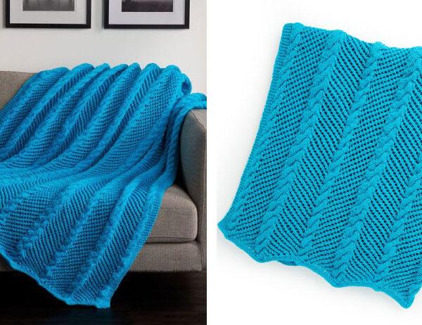 Zigging Knit Throw [FREE Knitting Pattern]   learnknittingonline.com