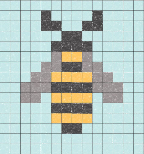 Bee intarsia pattern using an ordinary graph paper